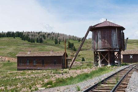 narrow gauge railroad: Water tower and narrow gauge railroad tracks, Osier, Colorado