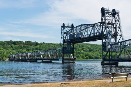 counterweight: Lift bridge over the St. Croix River, Stillwater, Minnesota Stock Photo