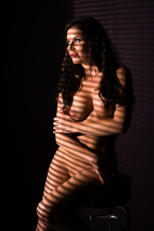 Beautiful shapely nude brunette lit through blinds