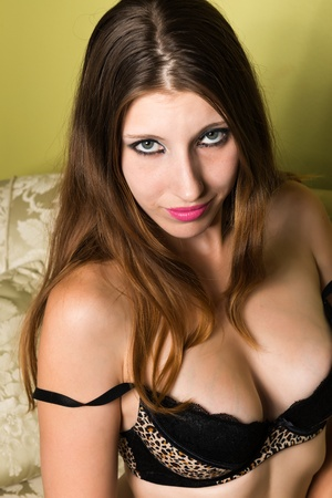 leopard print lingerie: Pretty young brunette in leopard print lingerie Stock Photo