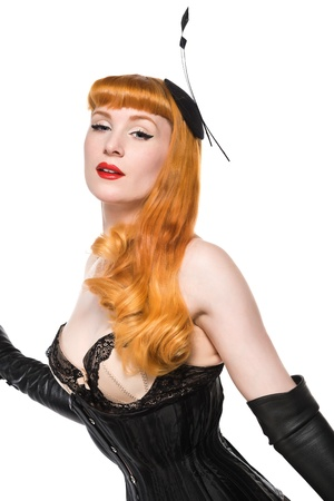 redhead lingerie: Beautiful young redhead dressed in vintage lingerie