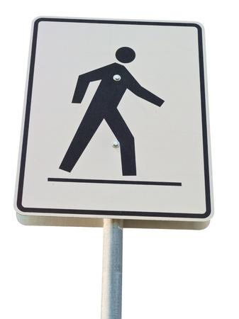 Pedestrian Crossing street sign on a metal pole