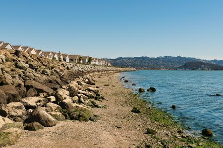 townhomes: Bay Trail along Richmond Inner Harbor, San Francisco Bay, California