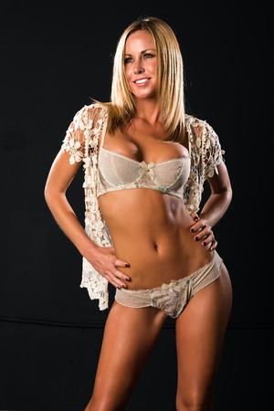 lace panties: Pretty petite blonde dressed in vintage lingerie