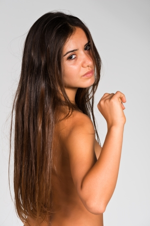 Slender young nude Romanian woman photo