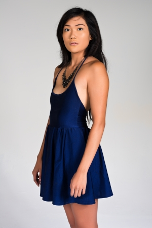 spaghetti strap: Pretty young Filipina in a spaghetti strap blue dress