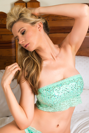 beautiful long hair: Beautiful tall blonde in seafoam green lingerie