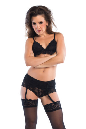 Pretty petite brunette dressed in black lingerie photo
