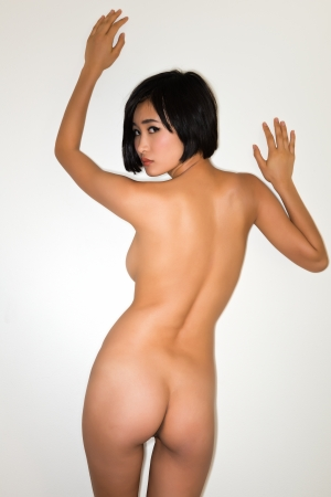 Beautiful young nude Japanese woman Stock Photo