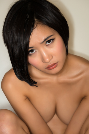 young girl nude: Beautiful young nude Japanese woman Stock Photo