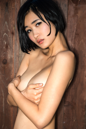 nude young woman: Beautiful young nude Japanese woman Stock Photo
