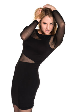 Pretty young blonde woman in a brown and black dress photo