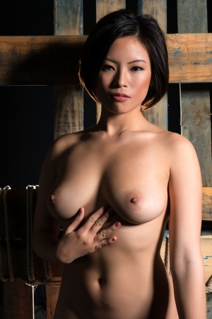 topless brunette: Beautiful young nude Chinese woman