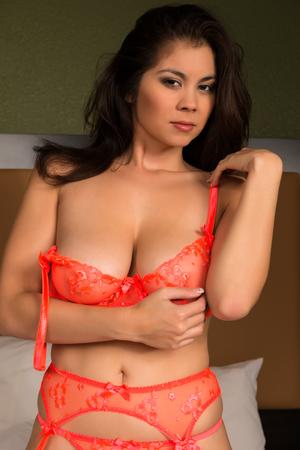 Beautiful young Eurasian woman in sheer lingerie