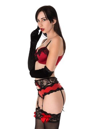 reggicalze: Piuttosto petite giovane donna in lingerie rossa e nera