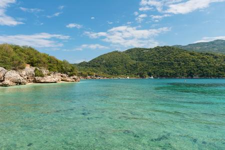 haiti: Green hills and blue water around Labadee, Haiti Stock Photo