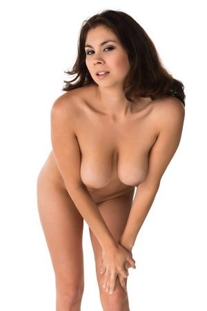 Beautiful young Eurasian woman nude on white photo