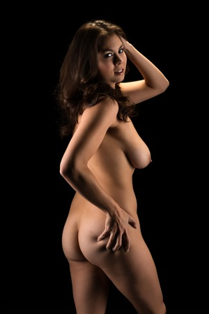 nude girl young: Beautiful young Eurasian woman nude in shadow