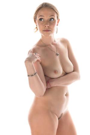 young nude girl: H�bsche junge Br�nette nackt auf wei� Lizenzfreie Bilder