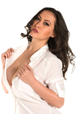 Beautiful multiracial woman in a white blouse