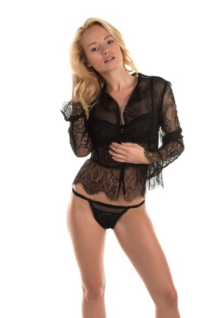 Beautiful young Hungarian blonde in black lingerie