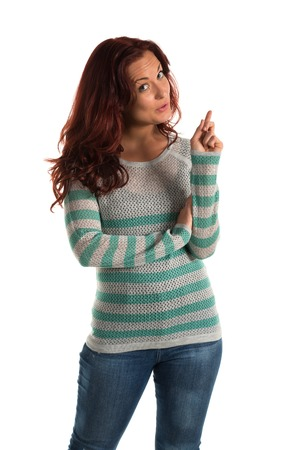 bluejeans: Pretty redheaded woman in a striped sweater