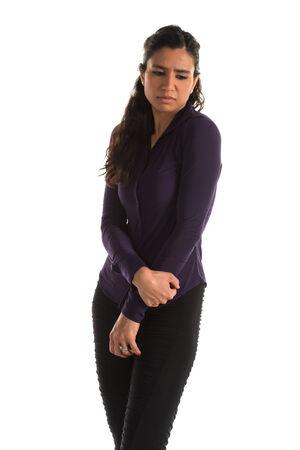 slacks: Beautiful tall Indian woman with a sad expression