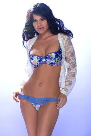 blue lingerie: Beautiful brunette woman in blue lingerie Stock Photo