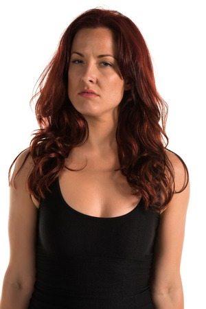 bluejeans: Pretty redheaded woman in a black tank top Stock Photo