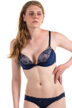 blue lingerie: Tall curvy pale brunette in dark blue lingerie