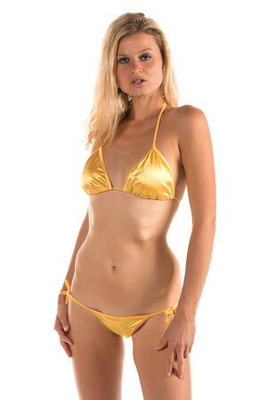 yellow bikini: Bella donna alta bionda in un bikini giallo Archivio Fotografico