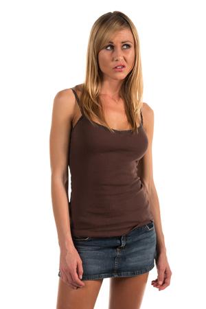 Pretty blonde woman in a brown tank top