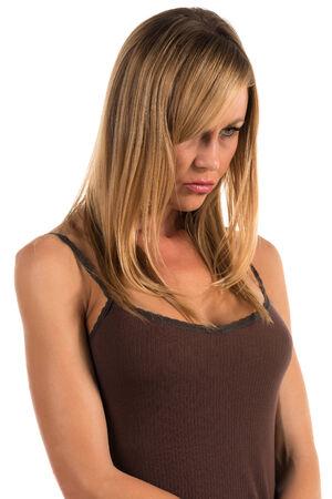 탱크 탑: 갈색 탱크 탑에 예쁜 금발의 여자 스톡 사진