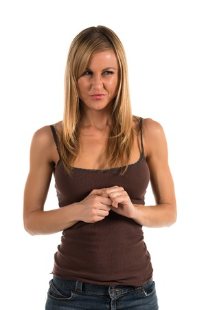 Pretty blonde woman in a brown tank top photo