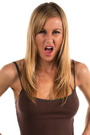 탱크 탑: Pretty blonde woman in a brown tank top