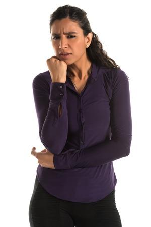 Beautiful tall Indian woman in a purple blouse