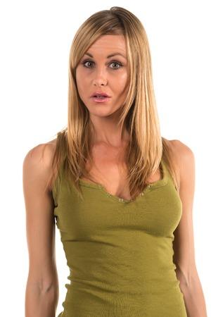 탱크 탑: Pretty petite blonde woman in an olive green tank top