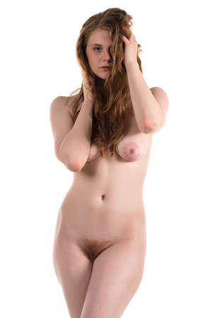 Tall curvy pale brunette nude on white