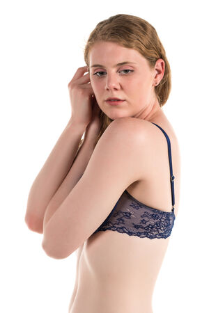 blue lingerie: Tall curvy pale brunette in blue lingerie Stock Photo