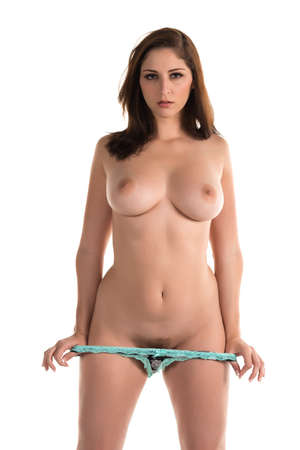 Beautiful topless brunette in turquoise, black and white panties
