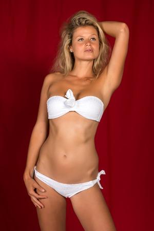 bandeau: Beautiful tall German blonde in a white bandeau bikini