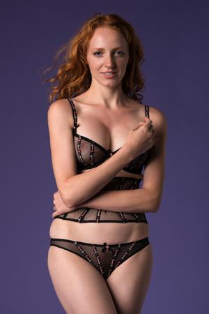redhead lingerie: Beautiful tall redhead in sheer brown lingerie