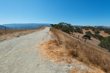 Dirt road through dry parched hills, Livermore, California