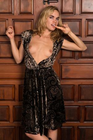 Schöne junge blonde Frau in einem braunen Kleid Paisley Standard-Bild - 34131094