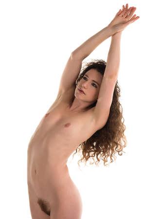 nudity: Petite slender brunette nude on white