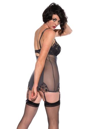 reggicalze: Bella bruna alto, vestito in grigio lingerie