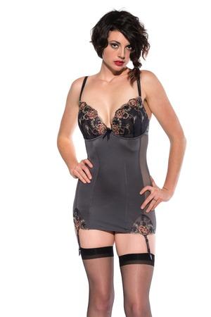 garters: Beautiful tall brunette dressed in gray lingerie Stock Photo
