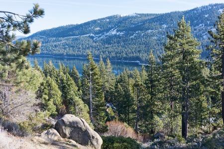 donner: Donner Lake in winter, Truckee, California Stock Photo