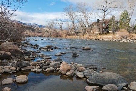nevada: The Truckee River in winter, Reno, Nevada