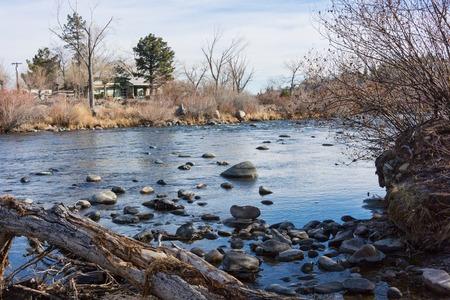 The Truckee River in winter, Reno, Nevada photo